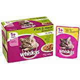 Whiskas 1+ Wet Cat Food Fish and Meat Selection in Jelly, 12 x 100g