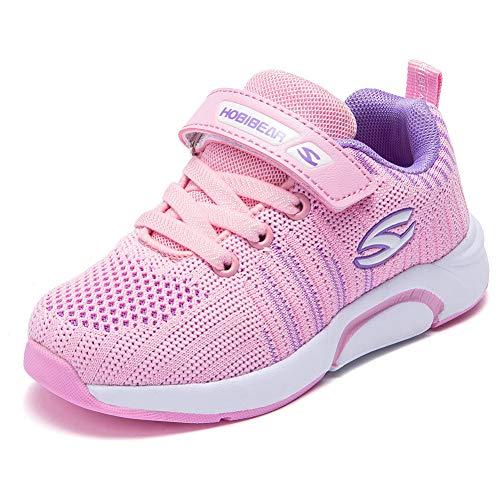 Kyopp Laufschuhe Kinder Turnschuhe für Mädchen Jungen Sportschuhe Kinderschuhe Outdoor Sneakers Klettverschluss Atmungsaktiv Unisex(7#Pink 29EU)