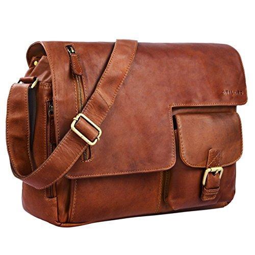 724cb212d4 STILORD 'Mika' Sacoche cuir ordinateur 15.6 marron vintage sac à  bandoulière pour femme homme porte-documents ...
