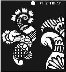 """CrafTreat Stencil - Peacock Henna Element 6""""X6"""""""