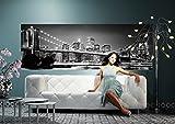 Komar - Fototapete NEW YORK BROOKLYN BRIDGE - 368 x 127 cm - Tapete, Wand, Dekoration, Wandbelag, Wandbild, Wanddeko, Skyline, Schwarweiß, Brücke - 4-320