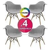 Stuhl Bettbezug (Pack 4)–Sessel tower–Stuhl Nordic Skandinavien inspiriert Sessel Eames DAW–Cala–(wählen Sie Ihre Farbe) grau