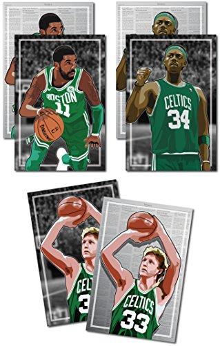 Oakley Graphics 3Poster der Boston Celtics-Larry Bird, Kyrie Irving, Paul Pierce Art Prints-Kaufen 1Get 2Gratis, 3Total Drucke (beidseitigen) Medium Set - 12