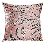Cupsbags Throw Pillow Cover Black Africa Animal Mixed with Leopard Skin Zebra and Snake Abstract Pattern Colorful Bright Cat Decorative Pillow Case Home Decor Square 18x18 inches Pillowcase
