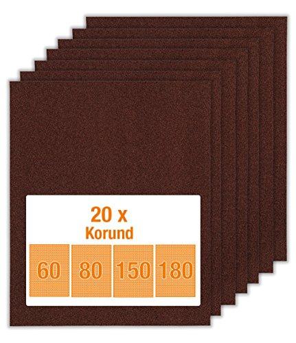 kwb Korund Schleifpapier-Set – für Holz und Farbe, K 60, K 80, K 150, K 180, 230 mm x 280 mm (20 Stk. - Sparpack)