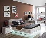 Jugendzimmer in Sandeiche-NB und weiß Hochglanz, Bett (ca. 140x200cm), Nachtkommode, Schreibtisch, Wandregal, 4-tlg.