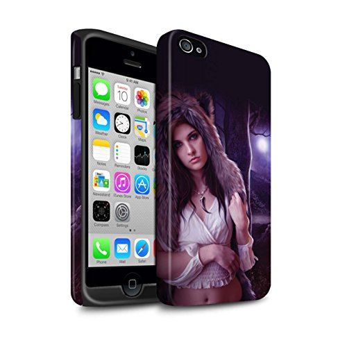Officiel Elena Dudina Coque / Matte Robuste Antichoc Etui pour Apple iPhone 4/4S / Feu Blanc Design / Un avec la Nature Collection Fille de Lune