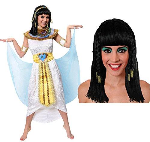 KLEOPATRA/CLEOPATRA KÖNIGIN DES NIL ÄGYPTEN PHARAONIN KOSTÜM MIT PERÜCKE ODER OHNE PERÜCKE =VON ILOVEFANCYDRESS®=, KLEOPATRA VERKLEIDUNG ERHALTBAR IN 5 GRÖßEN UND 2 VERSCHIEDENEN VARIATIONEN=TOLL FÜR JEDE CÄSAR ODER GÖTTIN DES NILS KOSTÜMIERUNG AN FASCHING UND KARNEVAL=KOSTÜM IN DER GRÖßE-SMALL+PERRÜCKE (Caesar Cleopatra Halloween-kostüme)