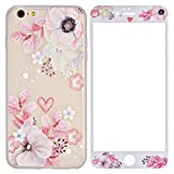 Coque iPhone 6S Plus Plus Verre Trempé,Coque iPhone 6S Plus Fleur, ZXK CO iPhone 6...