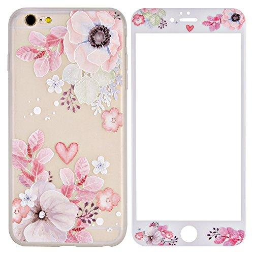 iPhone 6 Hülle, iPhone 6S Hülle + Panzerglas, ZXK CO TPU Silikon Hülle Schutzhülle mit Muster Protective Backcover Case mit 9H Hartglas Displayschutz Panzerglasfolie