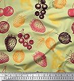 Soimoi Beige Baumwolljersey Stoff Kirsche & Erdbeere Obst