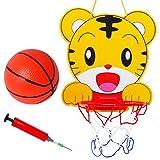 Homyl Mini Kinder Tigermuster Basketballkorb mit Basketball und Pumpe Ballspiele für Kinder Geschenk