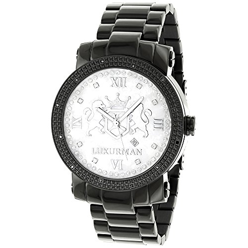 Designer Large Watches: LUXURMAN Phantom Black Diamond Watch for Men 0.12ct with 2 Extra Leather Bands