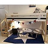 Dannenfelser Multifunktions-Hochbett BENSON skandinavisches Design Bett mit Treppenregal Kinderhochbett Massivholz Birke weiss-natur 90x200cm Höhe: 144cm Kinderbett mit Lattenrost #15560