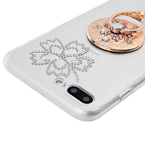"iPhone 7 Hardcase YOKIRIN iPhone 7 (4.7"") Schutzhülle Glitzer Rhinestone Case Hartschale Handyhülle Sparkle Bling 3D Diamant Strass Tasche Skin Schale TPU Silikon Radmen+PC Backplane Clear Kristall Ha Muster"