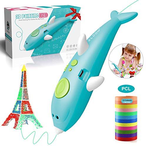 Pluma 3D Lápiz 3D 1,75mm Filamento para Impresion 3D Regalo para Niños y Adultos 3D Pluma Inteligente Pen Baja Temperatur Boligrafo 3D con Pantalla LCD Inteligente Graffiti pen Pluma de impresión 3D