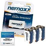 Nemaxx, batteria a blocco, litio 9V, ideale per rilevatore di fumo, 10anni di durata, 03LI9V