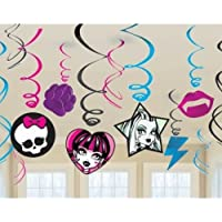 Monster High Birthday Party Hanging Swirl Decorations x 12