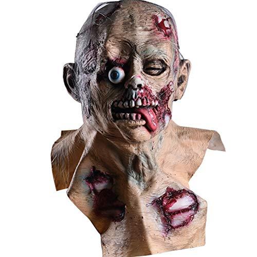 S+S Halloween Maske Beängstigend Zombies Übelkeit Faul Maske Horror Requisiten Zu Fuß Tot Auto Biohazard Perücken Rollenspiel Maskerade Erwachsene Männer Und Frauen Beängstigend Maske Spielzeug
