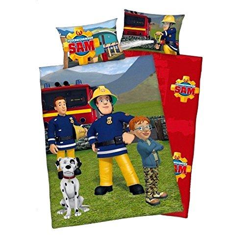3 tlg. Baby Bettwäsche Wende Motiv: Feuerwehrmann Sam - Renforcé 100x135 cm + 40x60 cm + 1 Spannbettlaken in weiß 70x140 cm