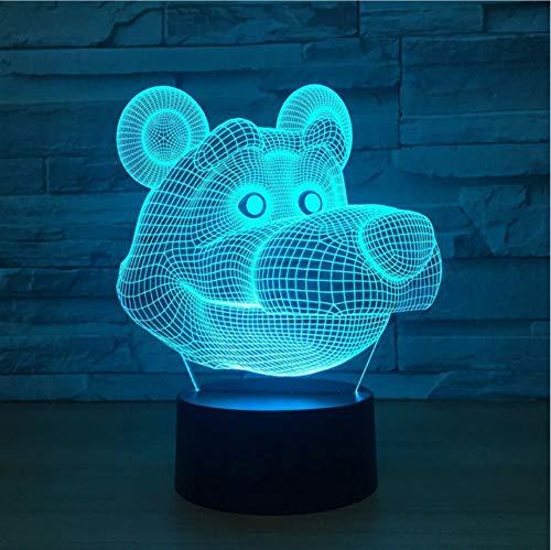 Schlafzimmer Dekor Atmosphäre 3D Big Bear Kopf Modellierung Led Nachtlicht 7 Farbwechsel Schwarz Bär Schreibtischlampe Baby Schlaf Beleuchtung Geschenke