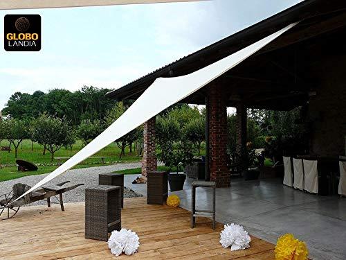 85509 - Tenda a Vela Parasole Ombreggiante da Giardino Resistente alla Pioggia per Feste - Triangolare 3m - Colore Panna marcata Globolandia SRL