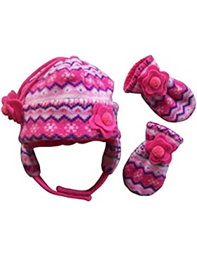 N'Ice Caps Girls Fair Isle Print Micro Fleece Hat And Mitten Set