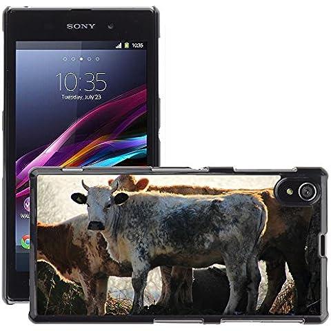 Hello-mobile Hot Style-Custodia rigida per cellulare, a forma di mucca, M00138068 di manzo, vitello fattoria e posteriore, per Sony Xperia Z1 C6902, C6903, C6906, C6943 L39