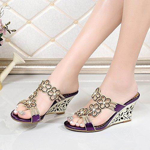 XY&GKFrühling und Sommer Sandalen Leder Sandalen in Diamant Kristall mit Diamond Sandalen mit Hang Toe Hausschuhe, komfortabel und schön 35 purple