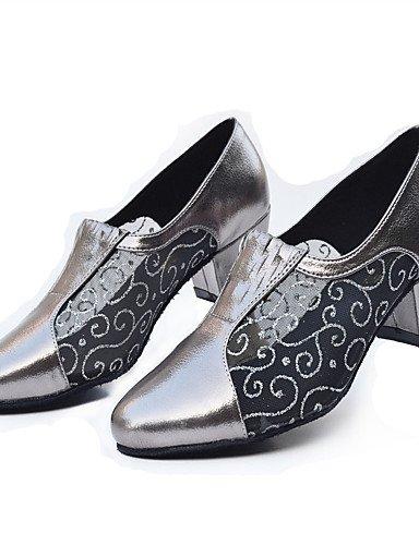 La mode moderne des femmes Sandales Chaussures de danse de bal latino/Jazz/Swing moderne chaussures/Salsa/Samba Talon noir/argent/gris Grey