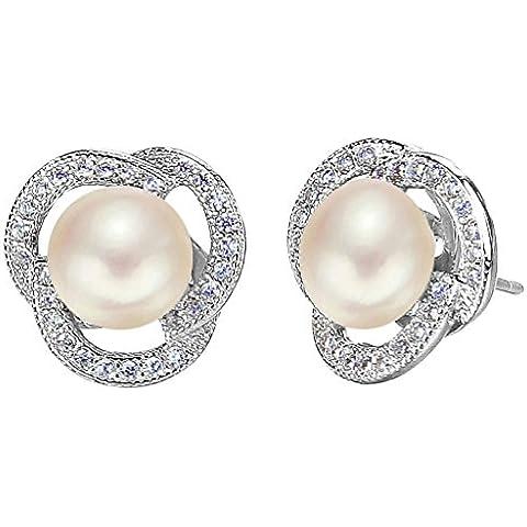 EleQueen Pulsante argento 925 CZ AAA crema perla coltivata d'acqua dolce Rose Bud nuziale Orecchini (8mm)