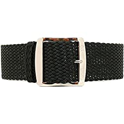 DaLuca Braided Nylon Perlon Watch Strap - Black (Silver Buckle) : 24mm