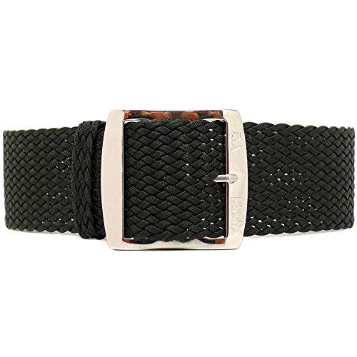 DaLuca Cinturino intrecciato in perlon nylon - nero (fibbia lucida): 20 mm