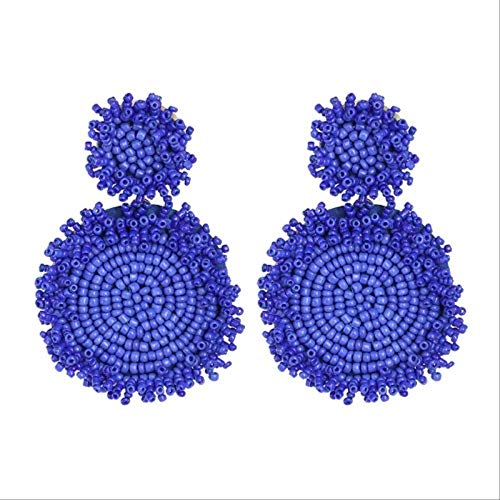 LQMT Ohrringe fallen Farben Damen Mode Ohrringe Ankunft Marke Kristall Quaste Perlen Blume Ohrringe 51772-Bu - Bu Mode