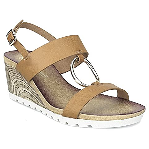 MaxMuxun Tan Women Shoes Ankle Strap Heels With Metallic Ring Wedge Sandals Size 3 UK/36 EU