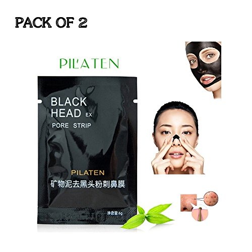 Pilaten black head acne white head remover charcoal cream mask strips (2 Pack)