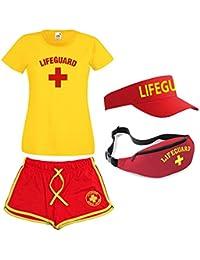 Mesdames Lifeguard T-shirt pour homme sac banane et pare-soleil Lot de 4pièces