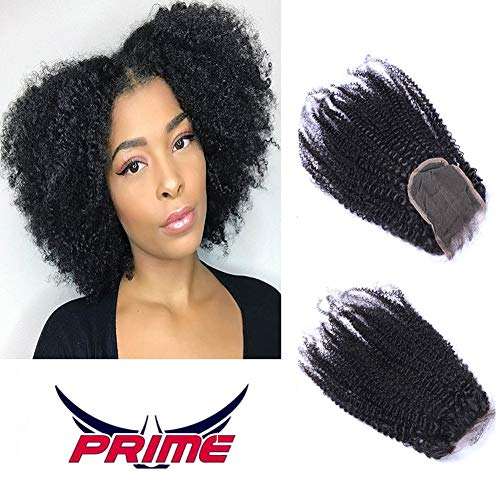 Oylove capelli afro crespi ricci pizzo chiusura 100% capelli umani mongoli vergine capelli remy 4 * 4 parte libera chiusura pizzo svizzero (14 inch, nero)