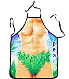 Tablier de cuisine humoristique Homme Nu Jungle Feuille Peace - Cuisine Cadeau Deguisement Humour - 047
