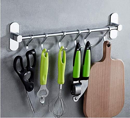 LEBEXY Küchenreling Hängeleiste für Küchenuten mit 6 Haken,aus Aluminium. Tragfähigkeit über 10kg, Ohne Bohren