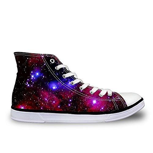 Damen Schuhe Canvas Sneaker Schnürer High Top Schuhe Universum Galaxie Sternenhimmel Turnschuhe Sportschuhe Laufschuhe EU40 (Universum Turnschuhe)
