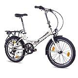 CHRISSON 20 Zoll Faltrad Klapprad - Foldo Weiss - Faltfahrrad für Herren und Damen - 20 Zoll klappbares Fahrrad mit 6 Gang Shimano Kettenschaltung - Folding City Bike