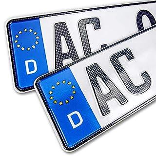 schildEVO 2 Carbon Kfz Kennzeichen | 520x110 mm | OFFIZIELL amtliche Nummernschilder | DIN-Zertifiziert - EU Wunschkennzeichen mit individueller Prägung | Autokennzeichen