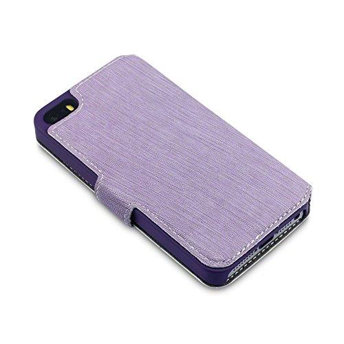 Coque Cuir iPhone SE, Terrapin Étui Housse en Cuir Ultra-mince Avec La Fonction Stand pour iPhone SE Case - Gris Violet