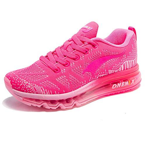 ONEMIX Damen Laufschuhe Air Sportschuhe Sneaker Turnschuhe Running Fitness Straßenlaufschuhe Rosa Rot