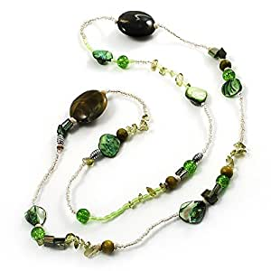 Long Exquisite Glass & Shell Bead Necklace (Grass Green & Olive Green) - 120cm Length