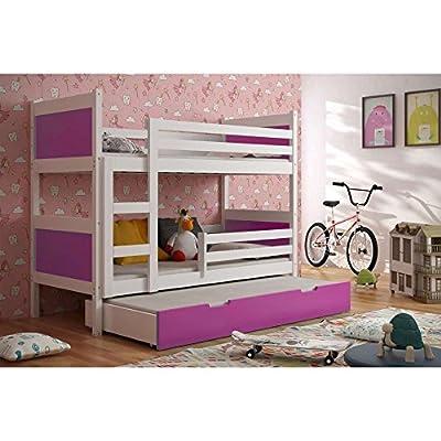 JUSThome LEON Cama juvenil infantil Litera con cajones con cama adicional (LxBxH): 190x85x150 cm Selección de color