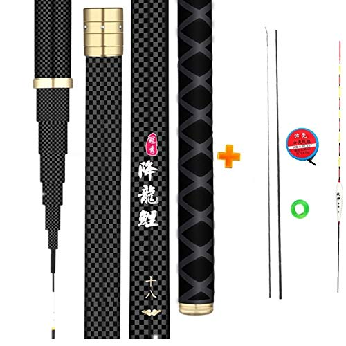 XIAOXINGXING Extralange High Carbon-Faser-Teleskopelektrohand Pole Angelrute 2.7M-10M Reise Carp Angelrute Geschenk for Angelruten (Color : Black, Length : 10m)