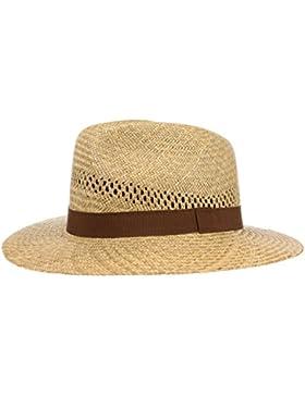 Classic Traveller Strohhut für Damen und Herren, Sonnenhut aus 100% Stroh in der Farbe Natur, Sommerhut mit braunem...