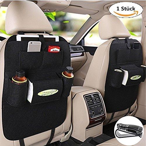 Organizer per sedile auto, con protezione del sedile in feltro e lana, borsa, supporto per bottiglie, scatola di fazzoletti, giocattoli